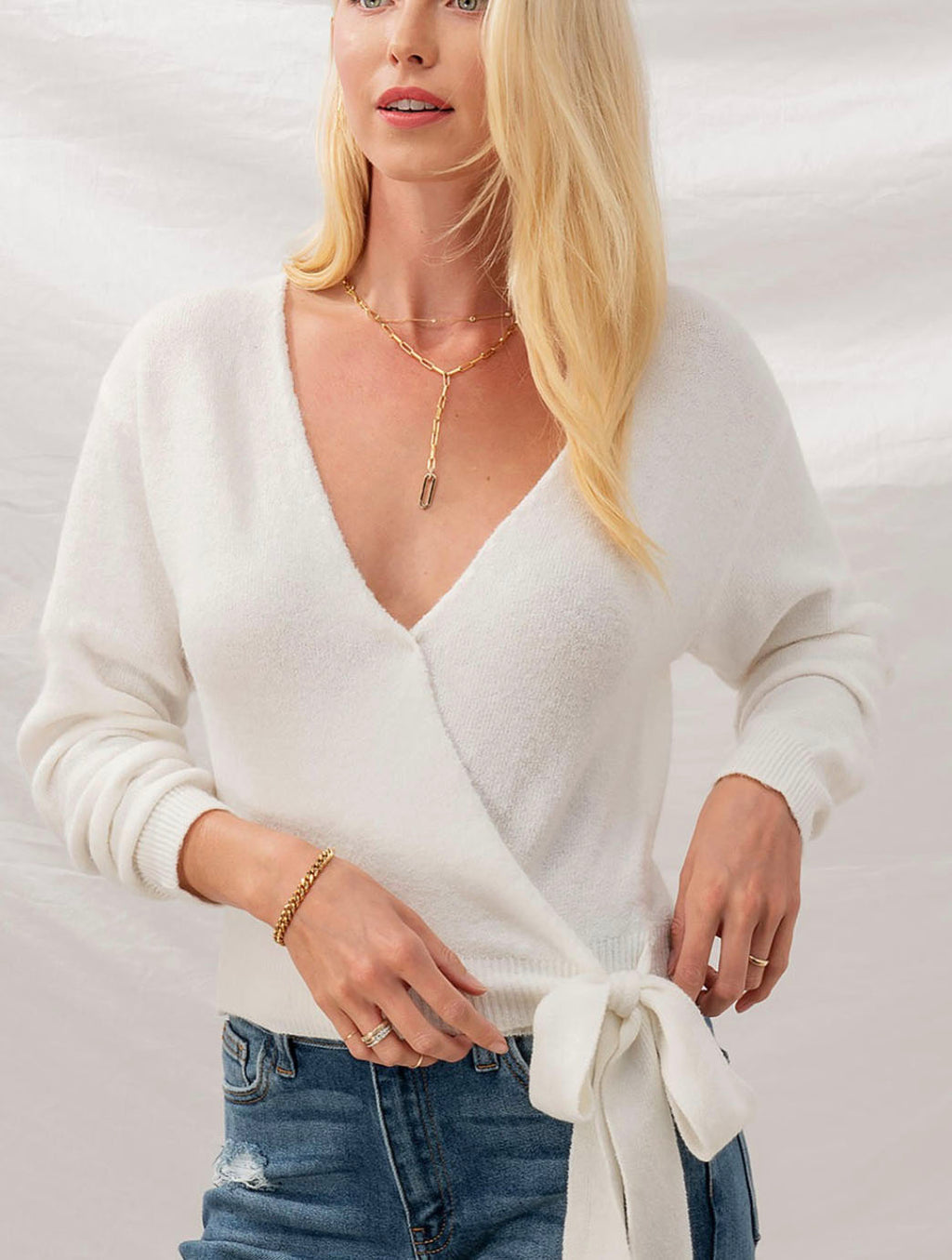 Trend Notes Wrap Ribbon Front Sweater in Ivory