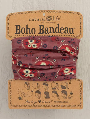 Natural Life Boho Bandeau in Red/Cream Floral