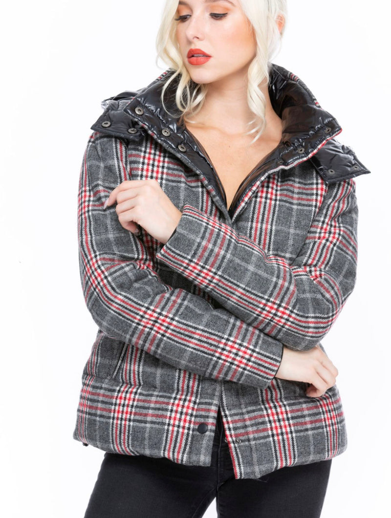 Coalition Plaid Puffer Jacket in Gray