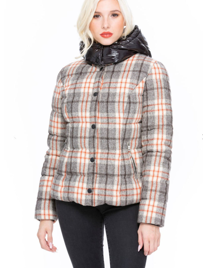 Coalition Plaid Puffer Jacket in Brown