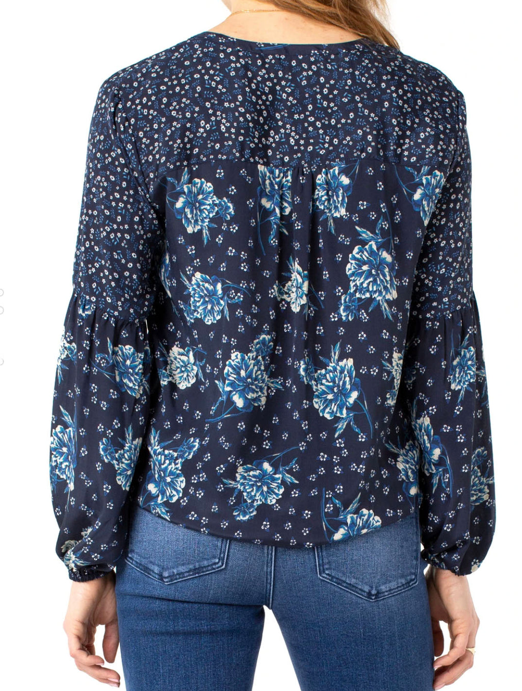 Liver Pool Tie Blouse in Floral