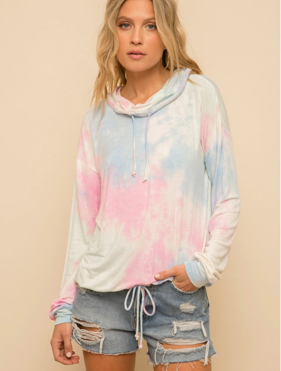 Hem & Thread Tie Dye Pull Over in Cotton Candy