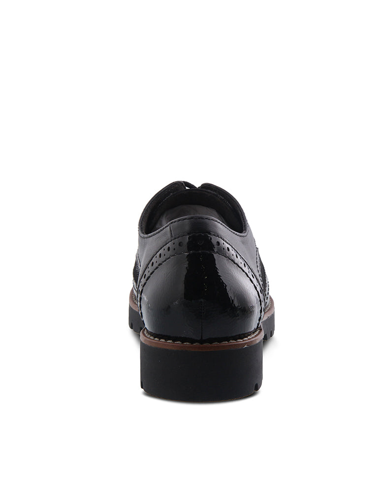 Spring Step Stanley Oxford in Black Snake Skin