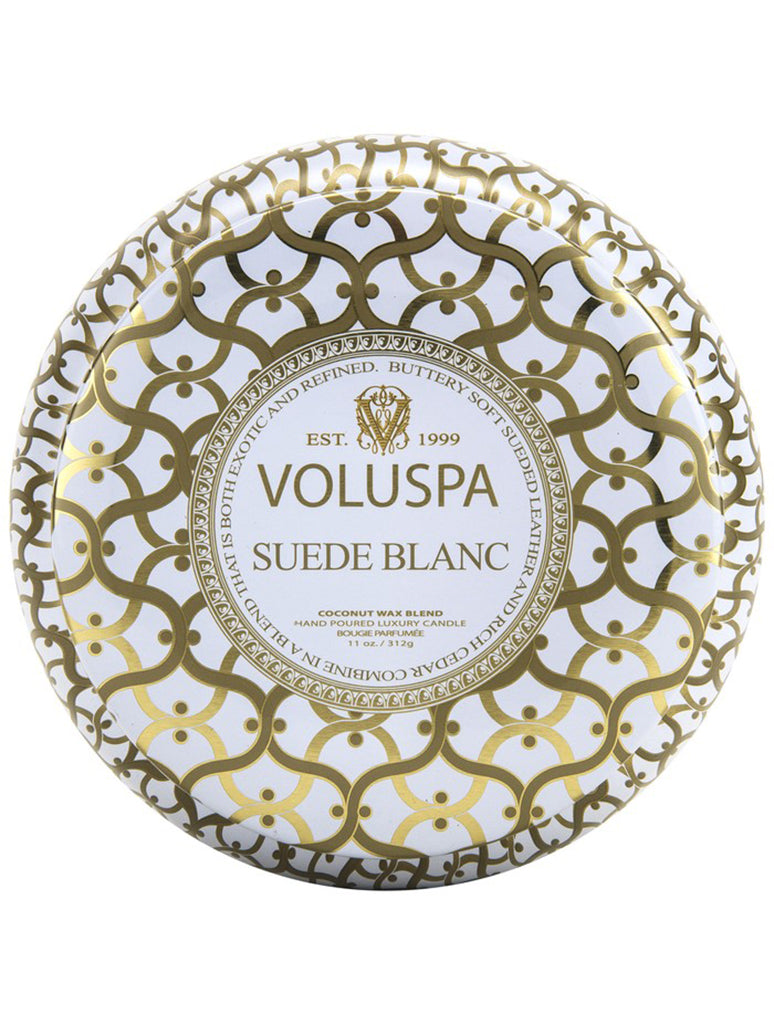 Voluspa Metallo 2 Wick Tin Candle in Suede Blanc