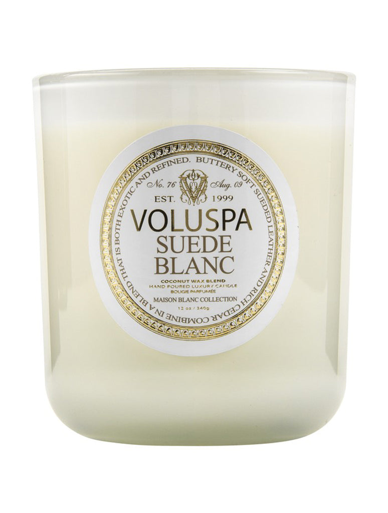 Voluspa Classic Maison Glass Jar Candle in Suede Blanc