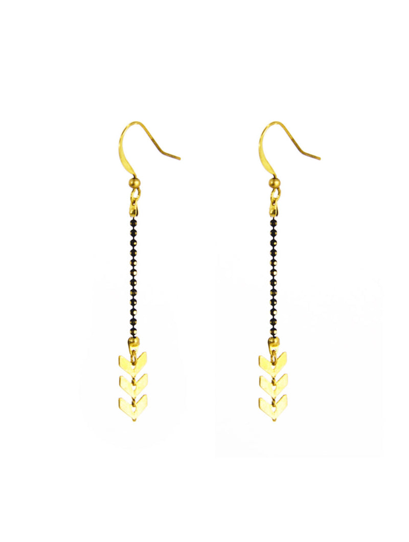 Santore Small Chevron Earring in Gold/Black