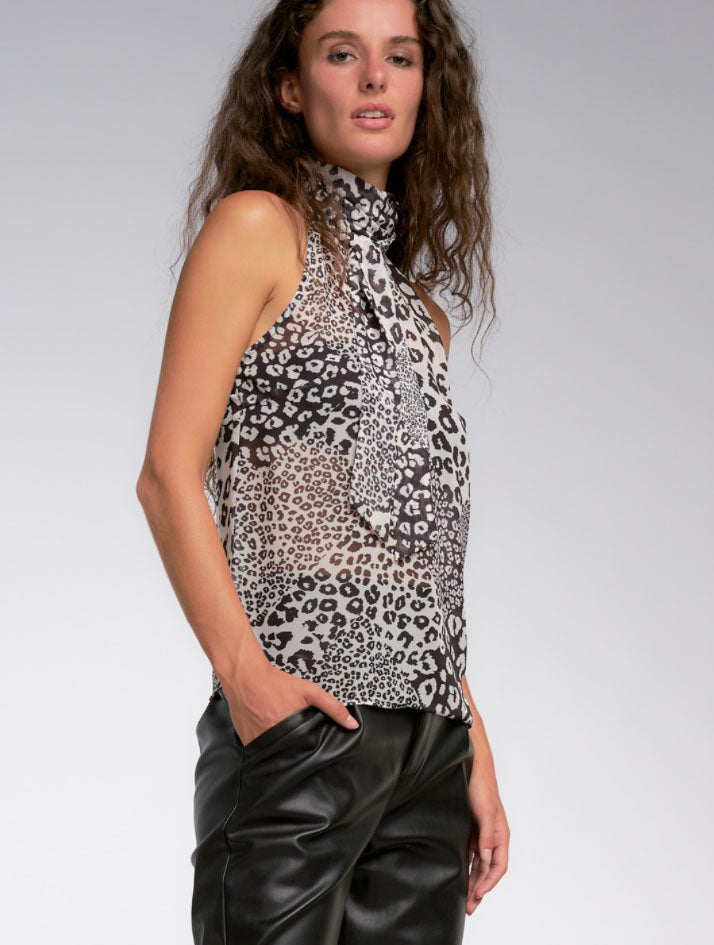 Elan Halter Top in Black White Leopard Print