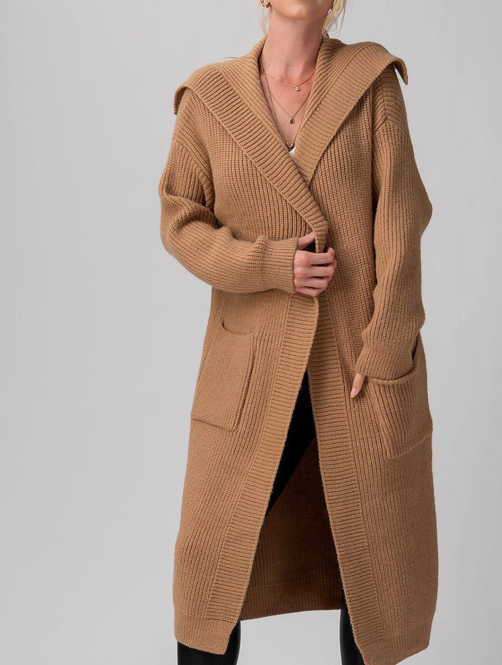 Trend Notes Knit Coat Cardigan in Camel