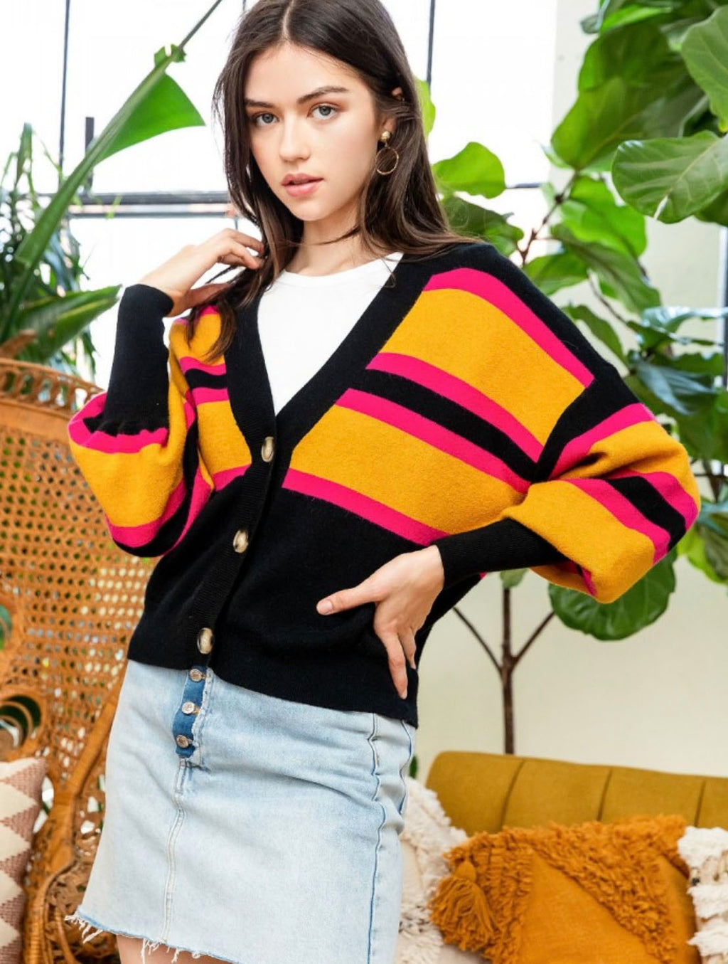 THML Button Sweater in Black