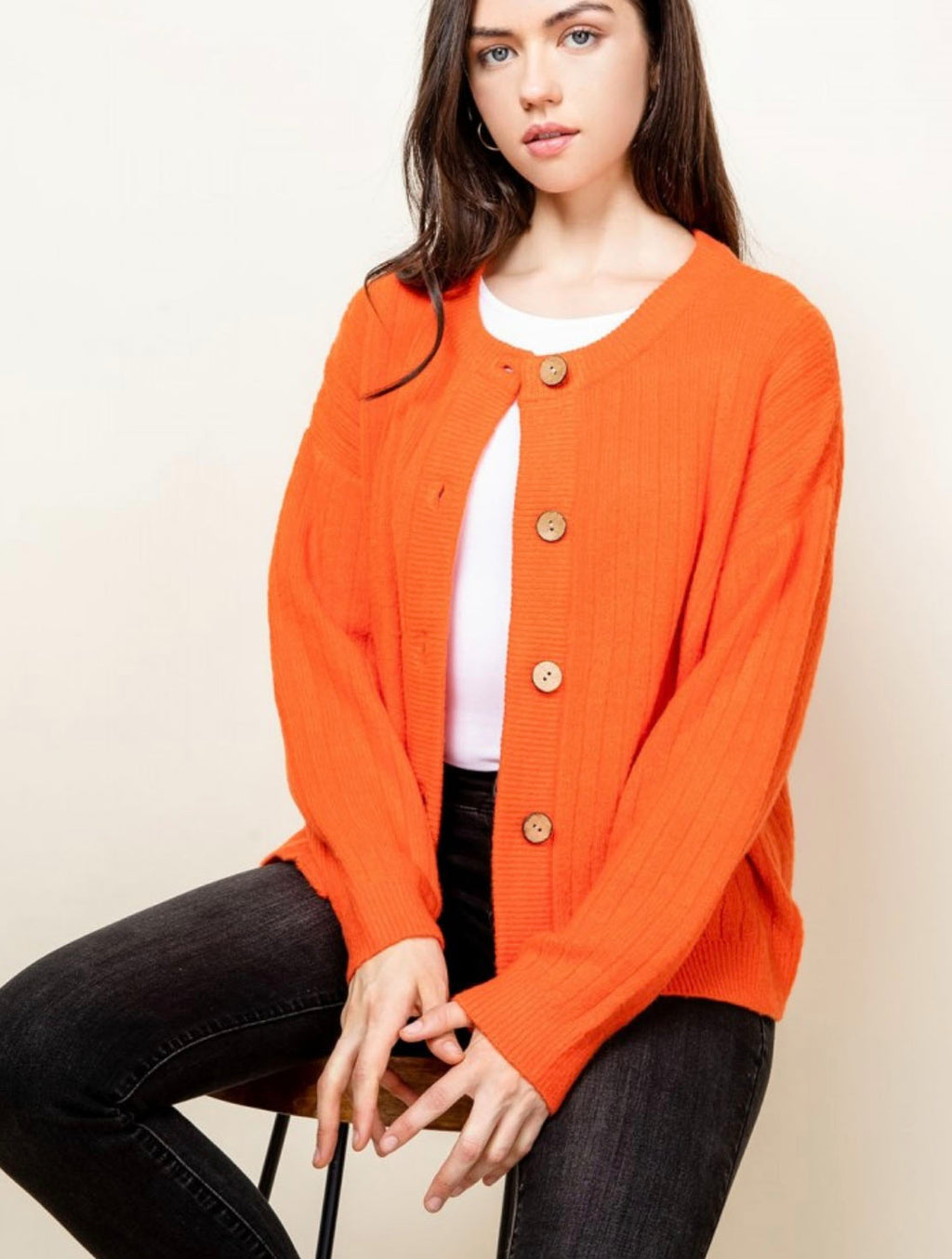 THML Button Cardigan in Orange