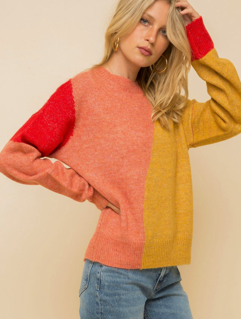 Hem & Thread Color Block Crew Neck Sweater in Coral/Mustard
