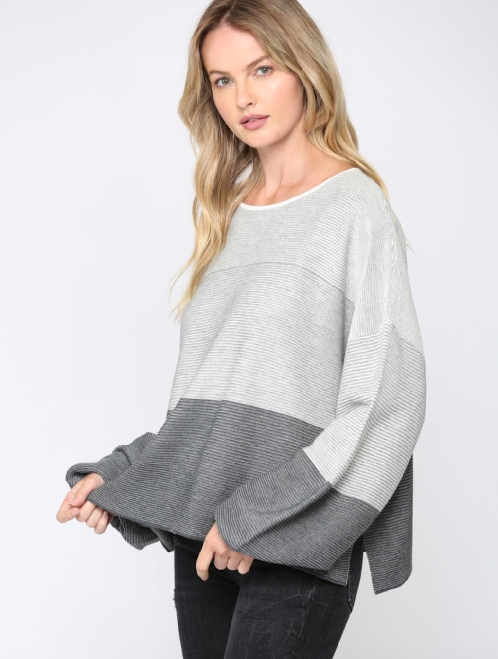 Fate Ombre Ribbed Pullover in Grey Plaid