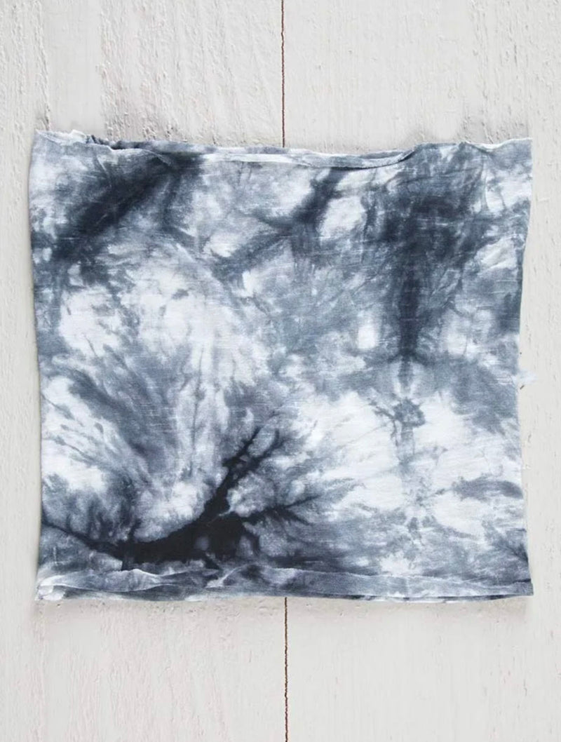 Natural Life 1/2 Boho Bandeau in White/Black Tie Dye