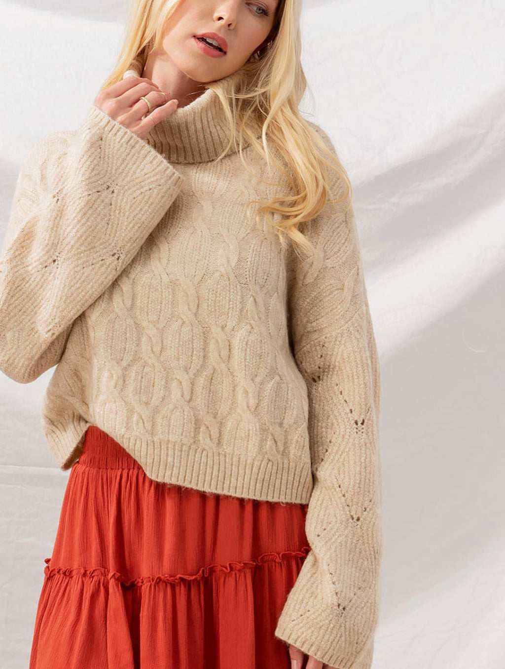 Trend Notes Cable Knit Turtle Neck in Oatmeal