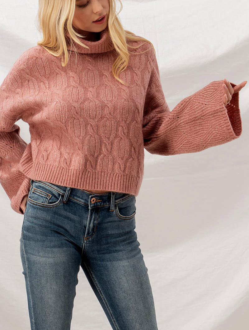 Trend Notes Cable Knit Turtle Neck in Mauve