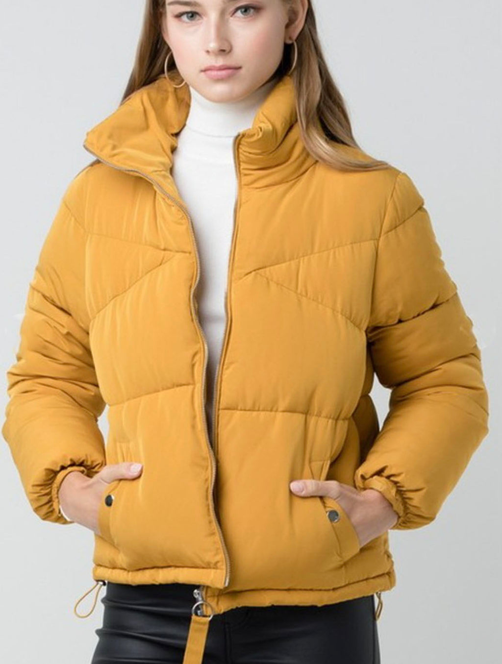 Trend Notes Puffer Jacket in Mustard