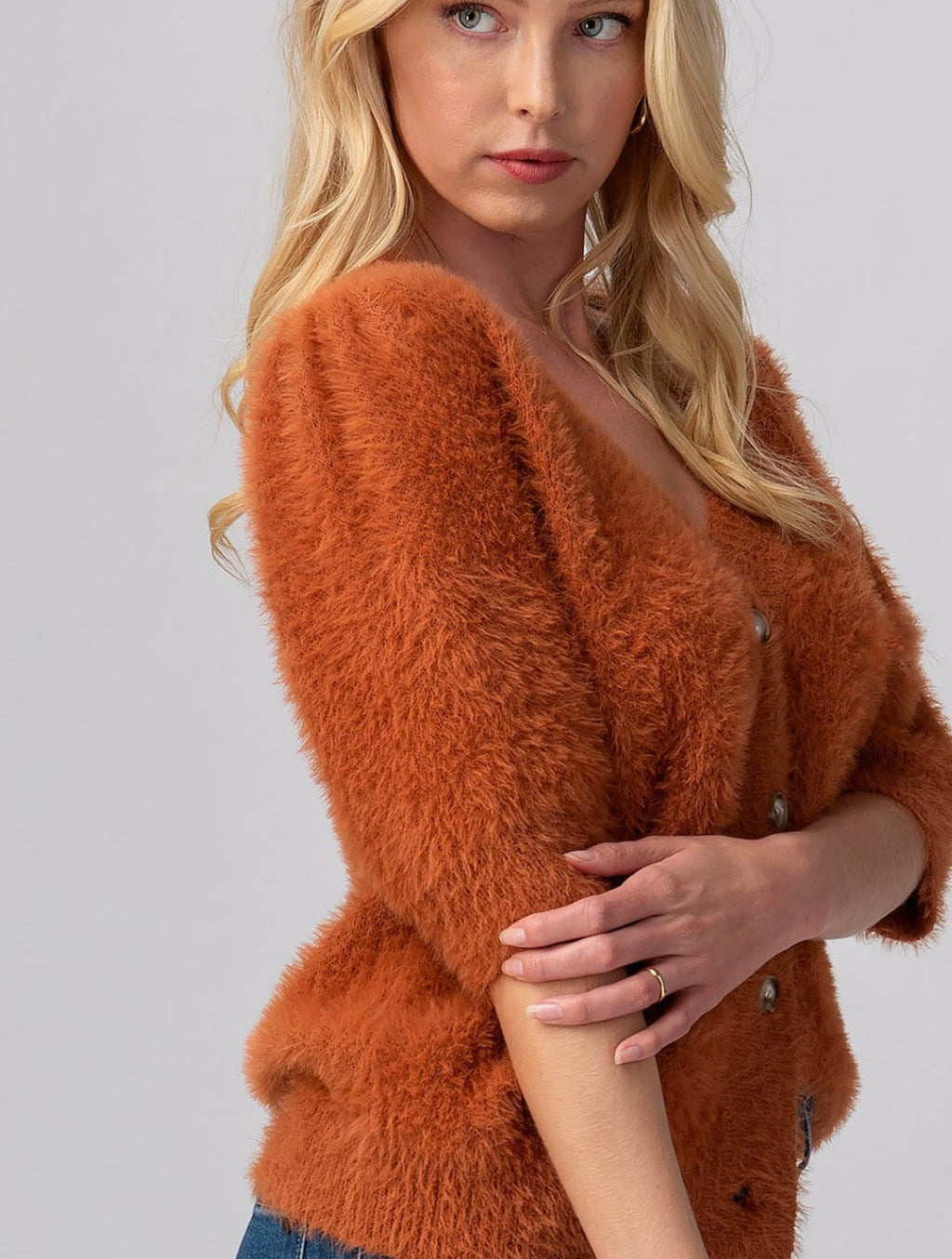 Trend Notes Puff Sleeve Cardigan in Rust