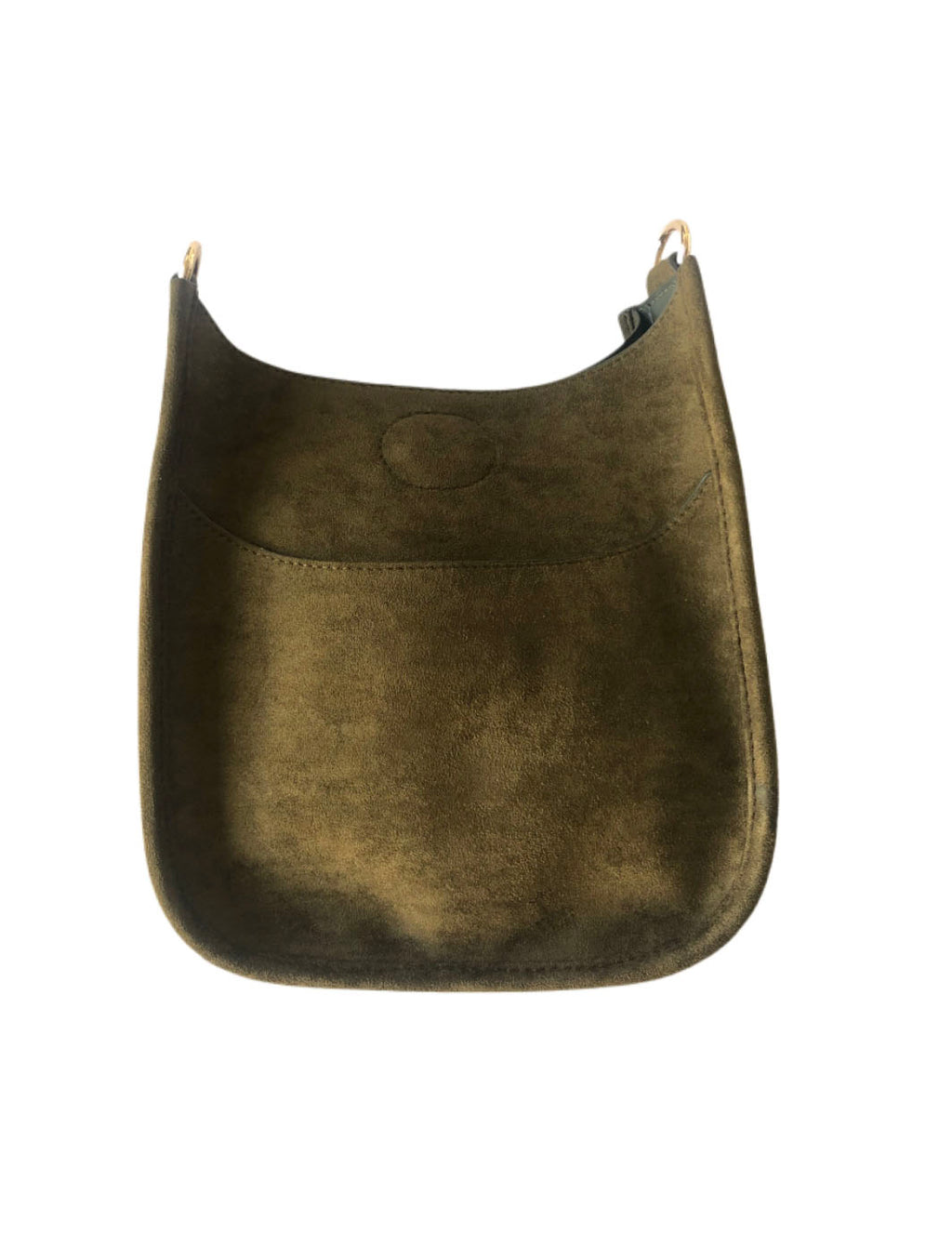 Ahdorned Mini Vegan Suede Messenger Bag in Army--No Strap!
