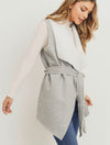 Paper Crane Fur Vest in Heather Grey