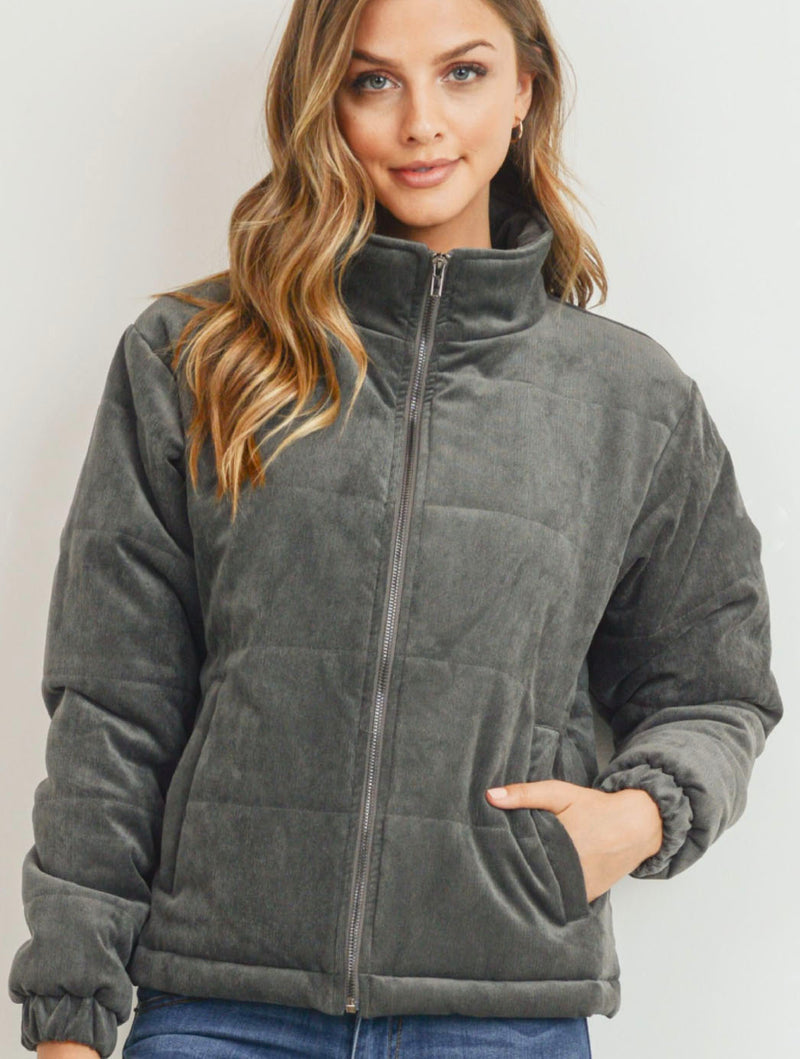 Paper Crane Puffy Jacket in Charcoal