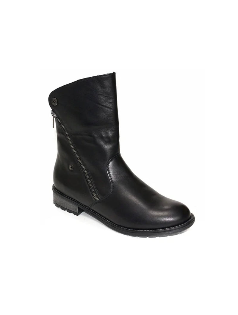 Remonte R3317-01 Fold Over Bootie in Schwarz