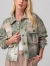 Anorak Short Puffer Vest in Green Camo
