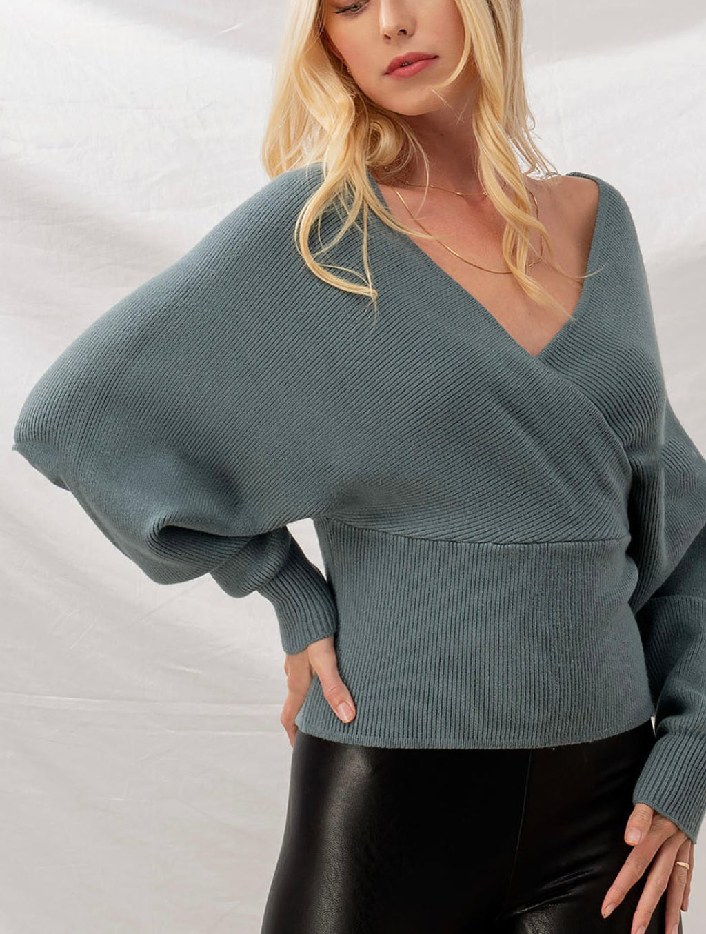 Trend Notes Ribbed Dolman Cutout Sweater in Light Teal