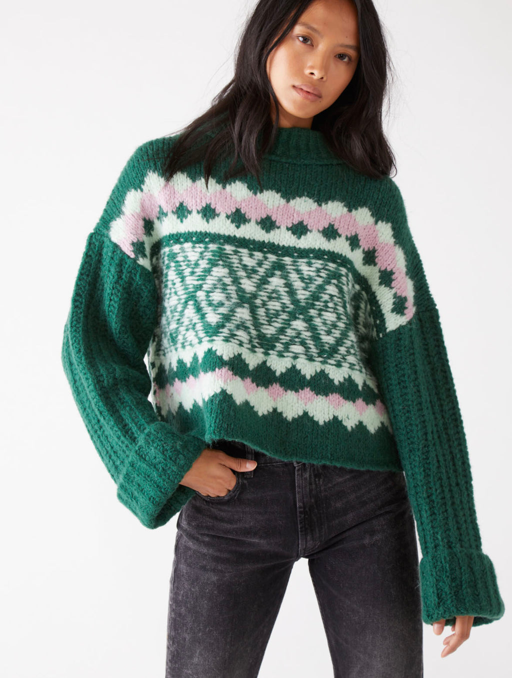 Free People Alpine Pullover in Spearmint Pine Combo