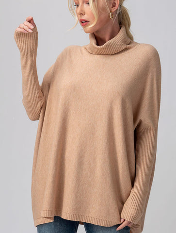 Lucky Brand Textured Stitch Turtleneck in Cream