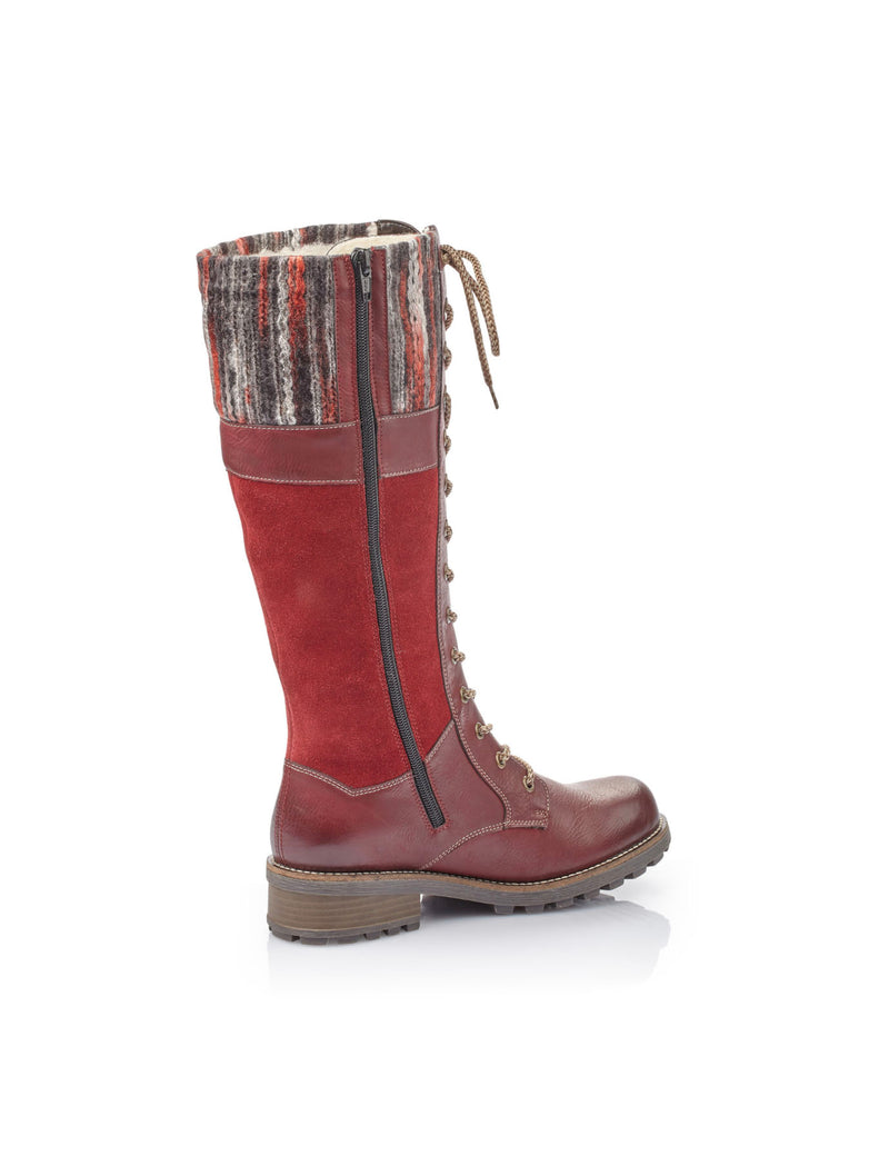 Rieker Tall Boot w/ Lining in Red