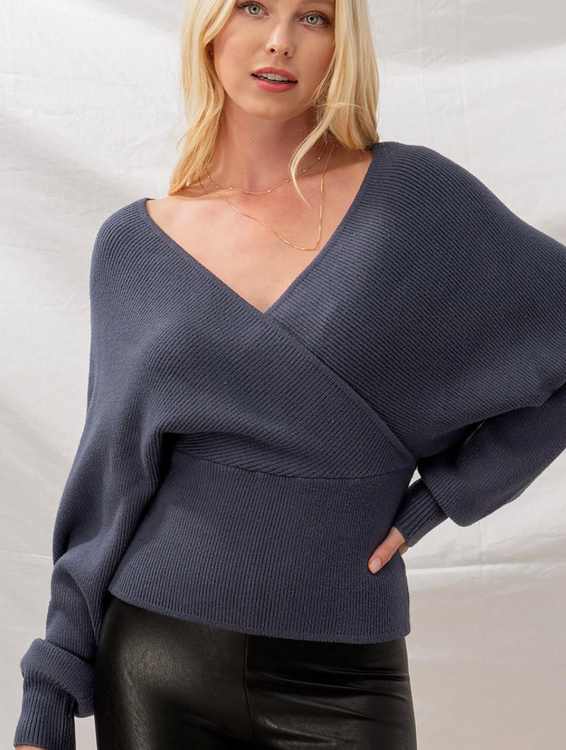 Trend Notes Ribbed Dolman Cutout Sweater in Blue Stone