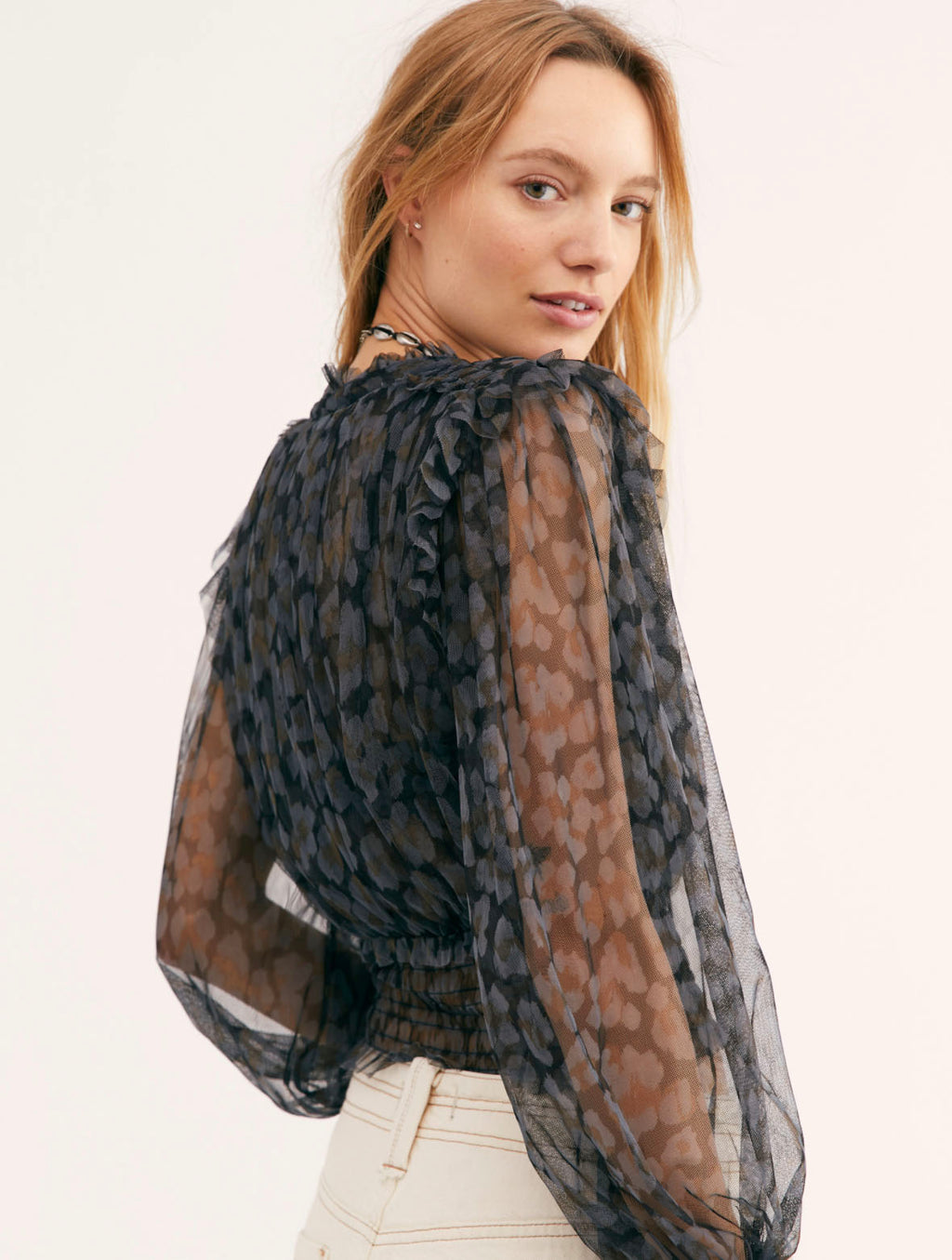Free People Printed Twyla Top in Black Combo Leopard