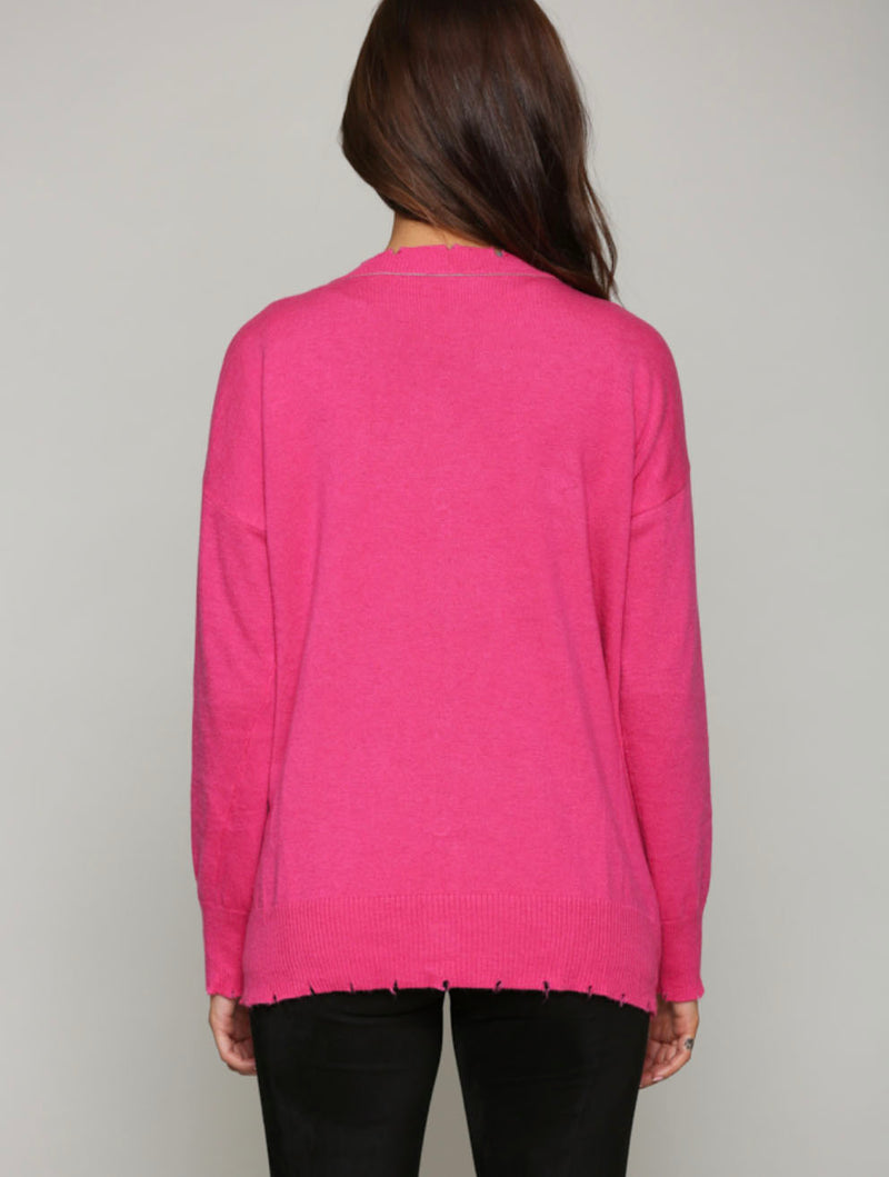 Fate Reversible Cardigan in Charcoal/Pink