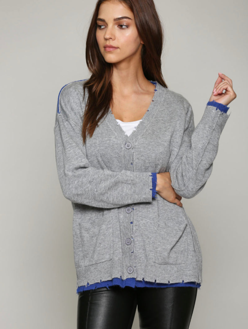Fate Reversible Cardigan in Grey/Blue