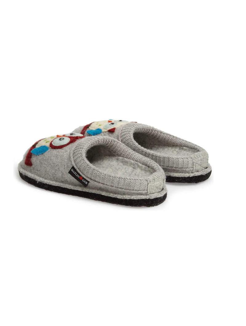 Haflinger Olivia Owl Slipper in Silver Grey