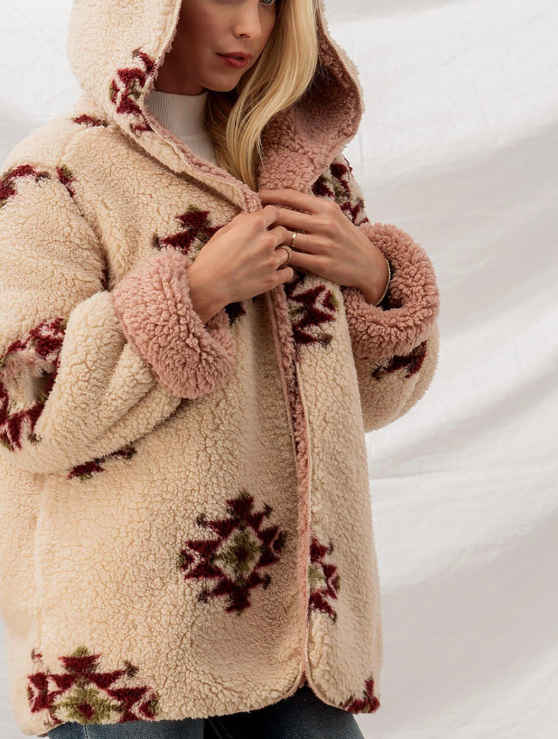 Trend Notes Aztec Sherpa in Cream