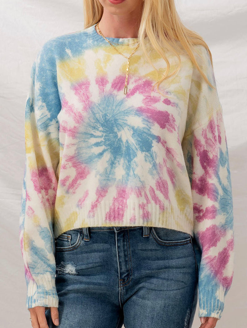 Trend Notes Tie Dye Pullover in Ivory Multi
