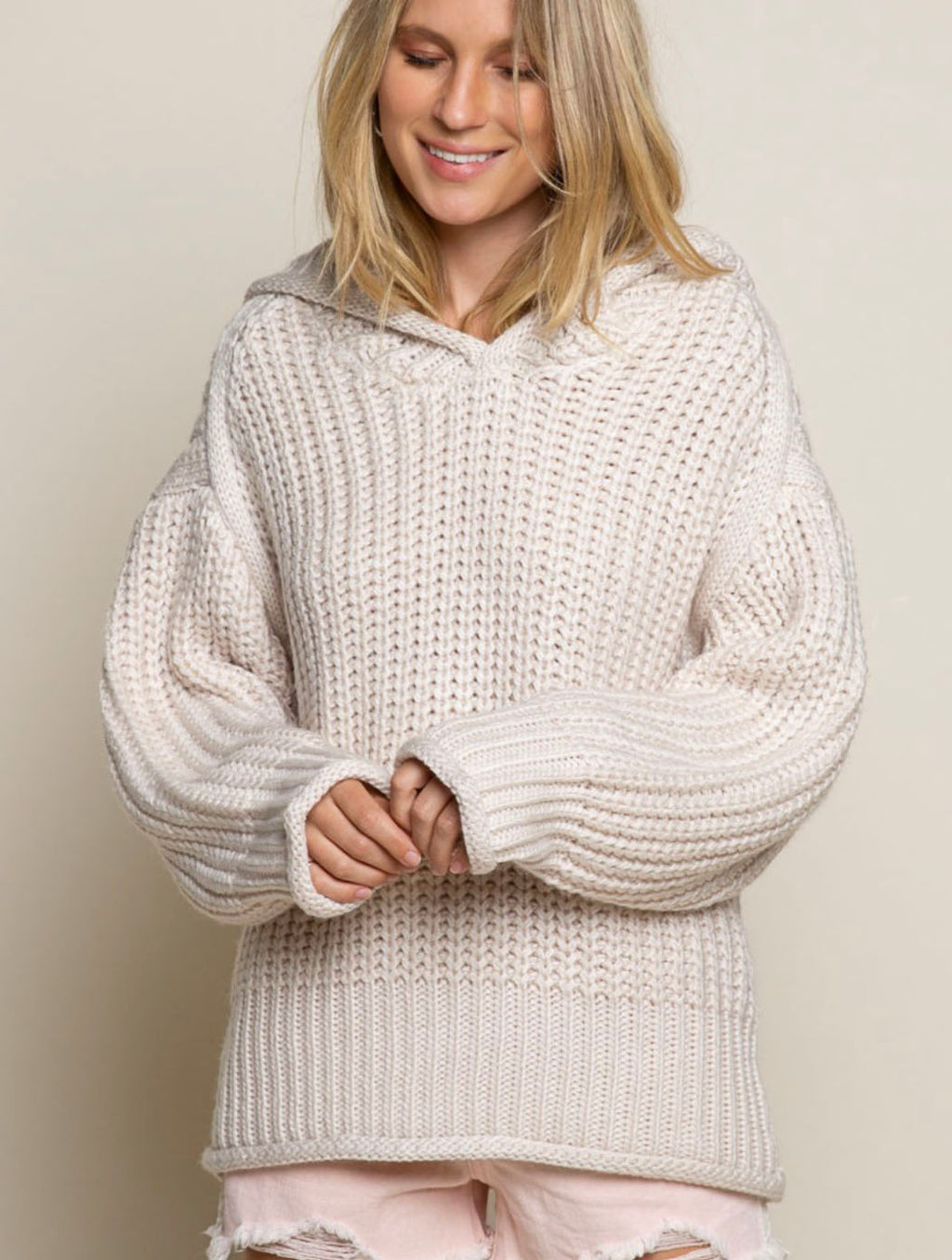 POL Knit Sweater in Powder Beige