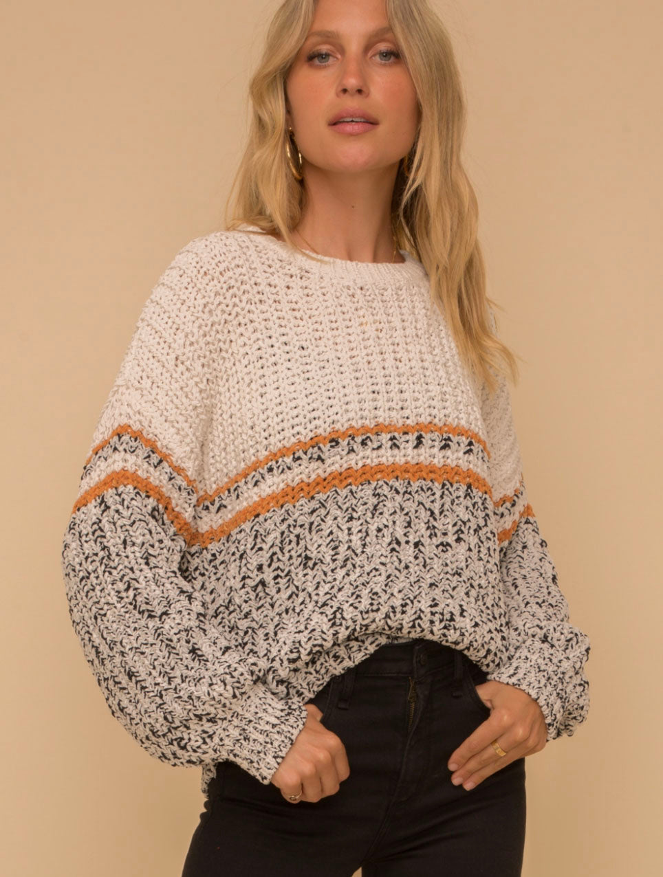 Hem & Thread Color Block Sweater in Ivory/Black/Mustard