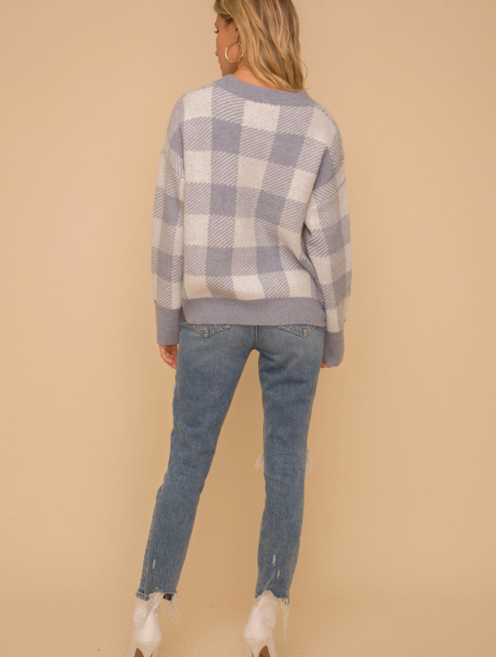 Hem & Thread Check Sweater in Blue/Ivory