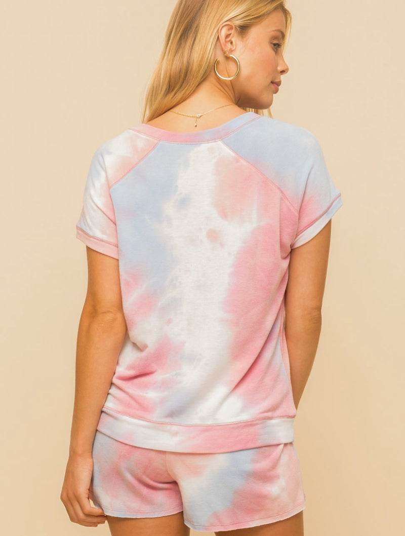 Hem & Thread Terry Top in Coral/Sky