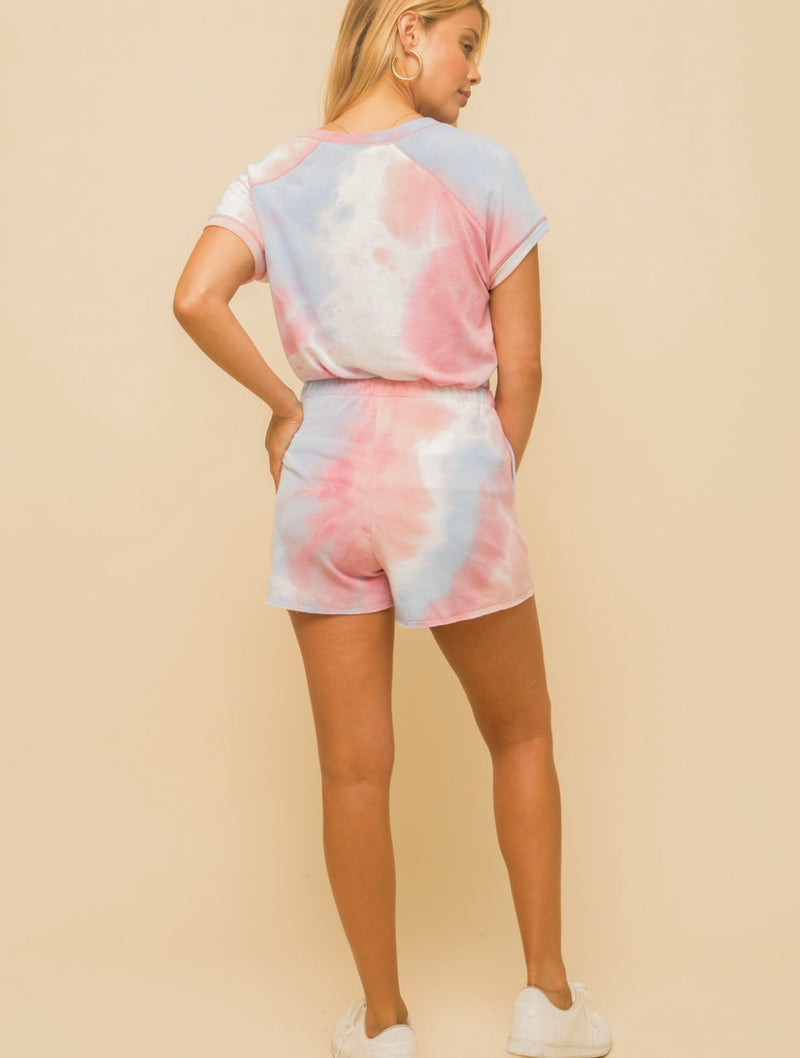 Hem & Thread Terry Short in Coral/Sky