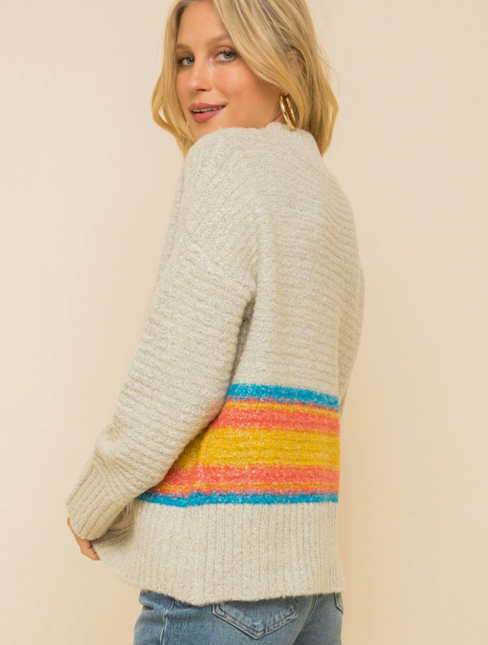 Hem & Thread Striped Mixed Sweater in Grey/Multi