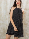 THML Pleated Halter Dress in Black