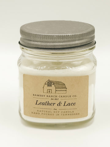 Leather & Lace 8 oz Mason Jar