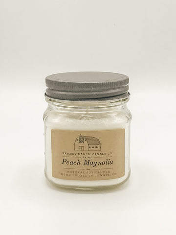 Peach Magnolia 8 oz Mason Jar