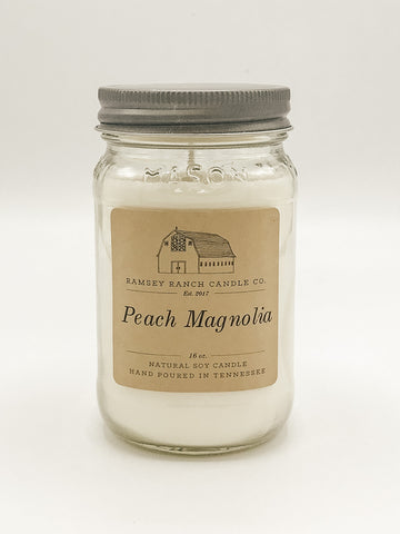 Peach Magnolia 16 oz Mason Jar