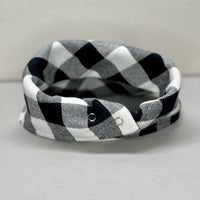 Black and White Buffalo Plaid Flannel Dog Bandana, Plaid Dog Bandana, Winter Dog Bandana