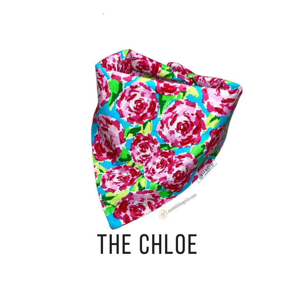 Pink Floral Dog Bandana, Pink and Blue Maximalist Flower Dog Bandana, Summer Flower Dog Bandana