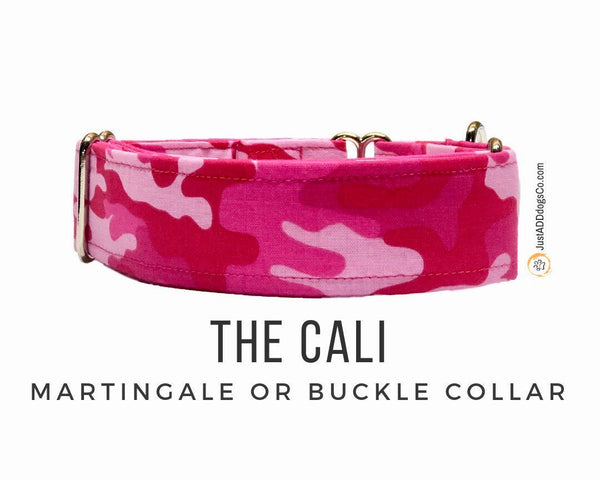 Pink Camouflage Martingale Dog Collar, Pink Camo Dog Collar, Martingale Collar, Side-Release Buckle Collar